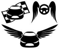 Svarta bilsymboler. Arkivbilder