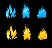 svarta blåa flammor för bakgrund som glöder orange Royaltyfria Bilder