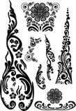 svarta blom- garneringelement vektor illustrationer