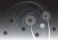 svarta blommascrolls Royaltyfri Illustrationer