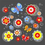 svarta blommor för bakgrund stock illustrationer