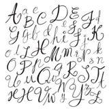 Svarta bokstäver för kritablyertspennaalfabet Hand dragit skriftligt Royaltyfri Foto