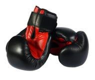 svarta boxninghandskar Arkivbilder