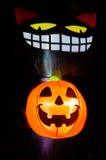Svarta Cat Halloween Decoration Arkivbild
