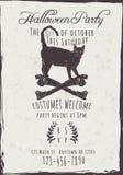 Svarta Cat Halloween Party Invitation Arkivfoton