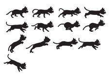 Svarta Cat Jumping Sprite Royaltyfri Fotografi