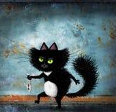 Svarta Cat Slinking With Fish Skeleton Royaltyfria Foton