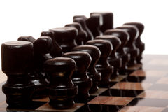 svarta chessmans Royaltyfri Fotografi