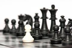 svarta chessmen Royaltyfri Bild