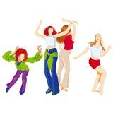 svarta dansillustrationer ställde in vektorwhitekvinnor Stock Illustrationer