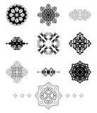 Svarta dekorativa beståndsdelar - vektoruppsättning stock illustrationer