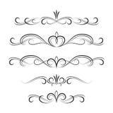 Svarta dekorativa lockiga beståndsdelar och prydnader Royaltyfri Bild