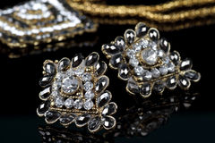 Svarta Diamond Jewelry Earrings Pair Royaltyfri Fotografi