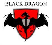 Svarta Dragon Over den röda skölden vektor illustrationer