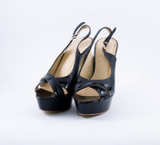 svarta eleganta skor Royaltyfri Fotografi