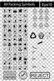 89 svarta emballagesymboler Royaltyfria Bilder