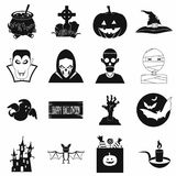 Svarta enkla symboler för allhelgonaafton royaltyfri illustrationer