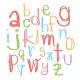 Svarta färgrika alfabetsmå bokstäver Hand dragen skriftlig intelligens Arkivbilder