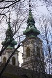 Svarta filialer av träd på bakgrunden av de två kupolerna av katolska kyrkan av St Anne i Budapest, på den högra banken av th arkivbild