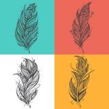 Svarta fjädersymboler Uppsättning av mallar för logodesignvektor Royaltyfria Bilder