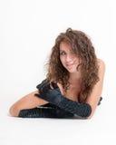 svarta flickahandskar Royaltyfri Foto