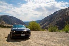 Svarta Ford Mustang GT 5 0 resande till och med den Yosemite nationalparken Arkivbilder
