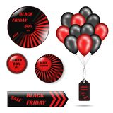Svarta fredag försäljningar ställde in av symbol och klistermärkear med röd svart färg för skinande ballonger Vektormateriel vektor illustrationer