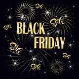 Svarta fredag försäljningsbaner, guld- tippa, fyrverkeri vektor illustrationer