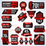 Svarta fredag försäljningsbaner och prislappetiketter och att sälja kortet och uppsättningen för rabattklistermärkevektor royaltyfri illustrationer