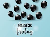 Svarta fredag med svarta realistiska ballonger på papper klippte bakgrund också vektor för coreldrawillustration Royaltyfria Foton