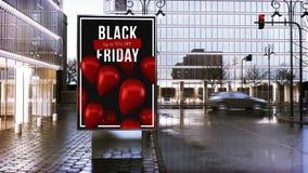 svarta fredag som annonserar affischtavlan på stadscentrum royaltyfri fotografi