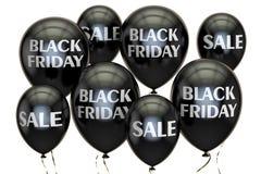svarta friday Sale och rabattbegrepp med ballonger 3d framför Royaltyfri Foto