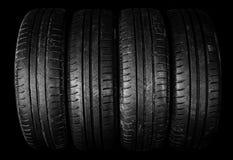 Svarta gamla gummihjul Royaltyfri Bild