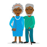 Svarta gamla par med exponeringsglas och gåpinnen stock illustrationer