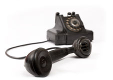 svarta gammala telefonskrapor Arkivbild