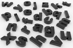 svarta glansiga bokstäver 3d Arkivfoto