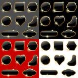 svarta glansiga etiketter Royaltyfria Foton