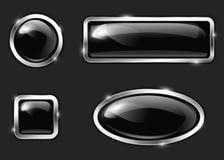 Svarta glansiga knappar Arkivfoton