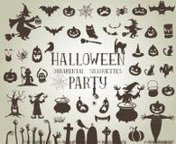 svarta halloween silhouettes white Arkivfoto