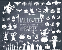svarta halloween silhouettes white Fotografering för Bildbyråer