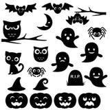 svarta halloween silhouettes white Arkivbilder
