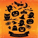 svarta halloween silhouettes white Royaltyfri Fotografi