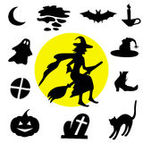 svarta halloween silhouettes white vektor illustrationer