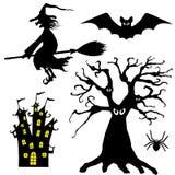 svarta halloween silhouettes white Uppsättning av häxan, spindeln, slagträet, trädet och slotten royaltyfri illustrationer