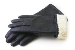 Svarta handskar för läder Fotografering för Bildbyråer