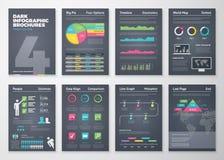 Svarta infographic mallar i broschyrstil