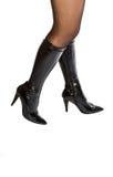 svarta kängakvinnligben Royaltyfri Foto