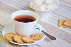 svarta kakor sockrar tea Arkivfoto