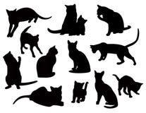 svarta katter royaltyfri illustrationer