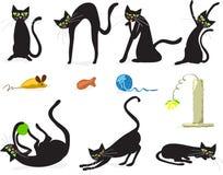 svarta katter stock illustrationer